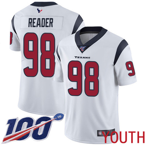 Houston Texans Limited White Youth D J Reader Road Jersey NFL Football 98 100th Season Vapor Untouchable