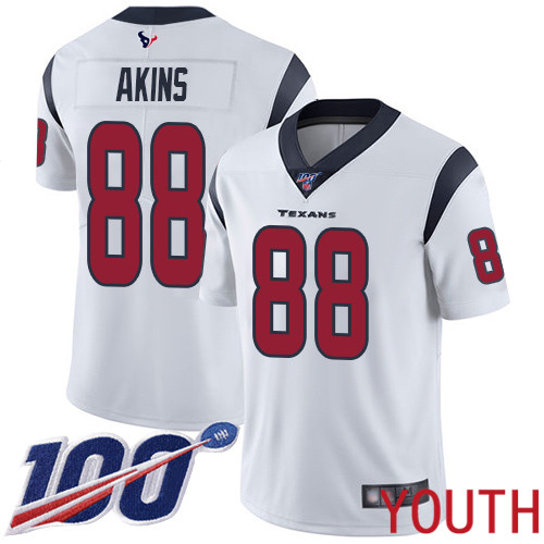 Houston Texans Limited White Youth Jordan Akins Road Jersey NFL Football 88 100th Season Vapor Untouchable