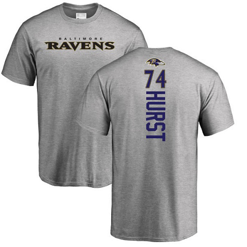 Men Baltimore Ravens Ash James Hurst Backer NFL Football 74 T Shirt