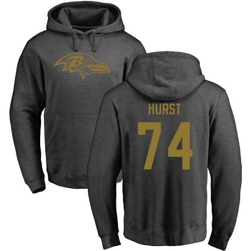 Men Baltimore Ravens Ash James Hurst One Color NFL Football 74 Pullover Hoodie Sweatshirt