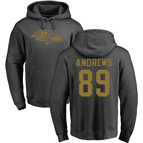 Men Baltimore Ravens Ash Mark Andrews One Color NFL Football 89 Pullover Hoodie Sweatshirt