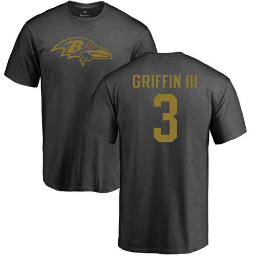 Men Baltimore Ravens Ash Robert Griffin III One Color NFL Football 3 T Shirt