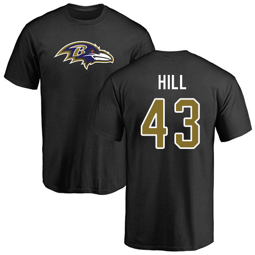 Men Baltimore Ravens Black Justice Hill Name and Number Logo NFL Football 43 T Shirt