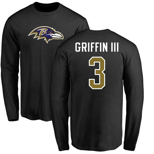 Men Baltimore Ravens Black Robert Griffin III Name and Number Logo NFL Football 3 Long Sleeve T Shirt