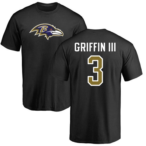 Men Baltimore Ravens Black Robert Griffin III Name and Number Logo NFL Football 3 T Shirt