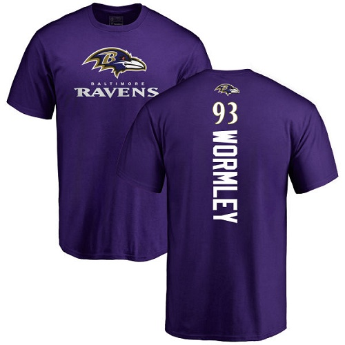 Men Baltimore Ravens Purple Chris Wormley Backer NFL Football 93 T Shirt