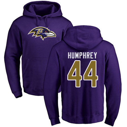 Men Baltimore Ravens Purple Marlon Humphrey Name and Number Logo NFL Football 44 Pullover Hoodie Sweatshirt