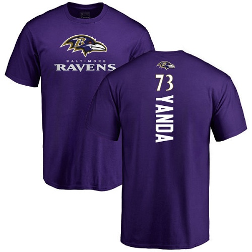Men Baltimore Ravens Purple Marshal Yanda Backer NFL Football 73 T Shirt