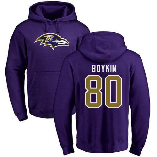 Men Baltimore Ravens Purple Miles Boykin Name and Number Logo NFL Football 80 Pullover Hoodie Sweatshirt