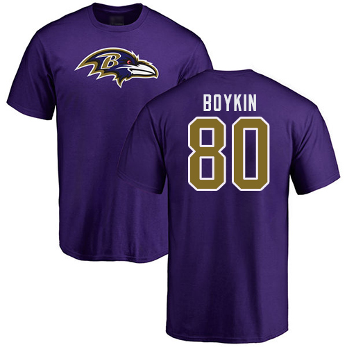 Men Baltimore Ravens Purple Miles Boykin Name and Number Logo NFL Football 80 T Shirt