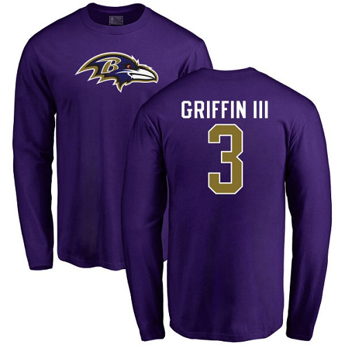 Men Baltimore Ravens Purple Robert Griffin III Name and Number Logo NFL Football 3 Long Sleeve T Shirt