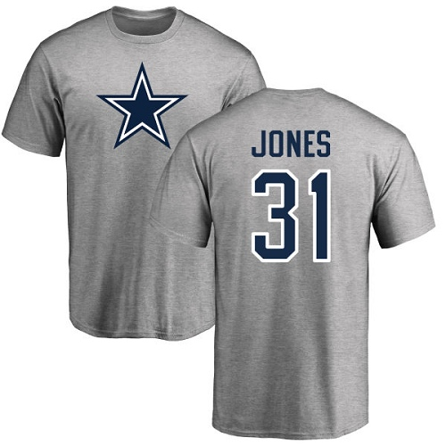 Men Dallas Cowboys Ash Byron Jones Name and Number Logo 31 Nike NFL T Shirt