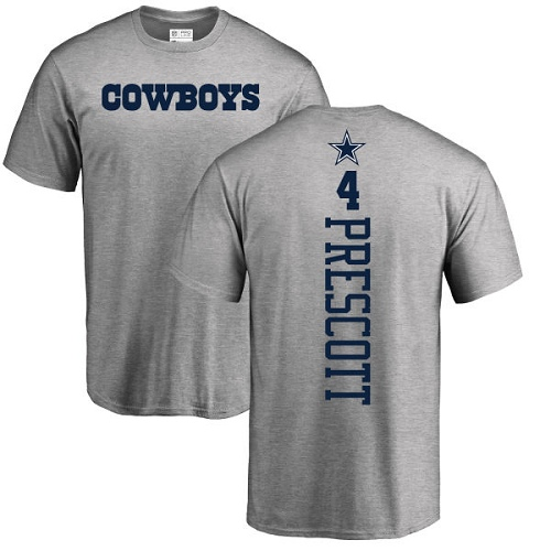 Men Dallas Cowboys Ash Dak Prescott Backer 4 Nike NFL T Shirt