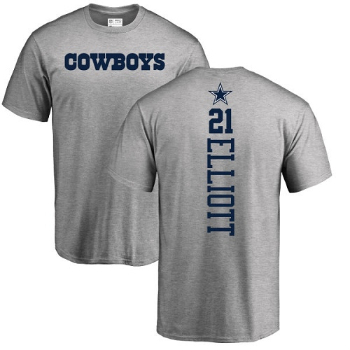 Men Dallas Cowboys Ash Ezekiel Elliott Backer 21 Nike NFL T Shirt