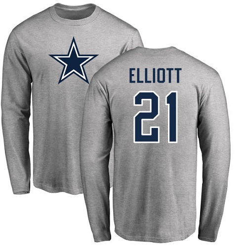 Men Dallas Cowboys Ash Ezekiel Elliott Name and Number Logo 21 Long Sleeve Nike NFL T Shirt