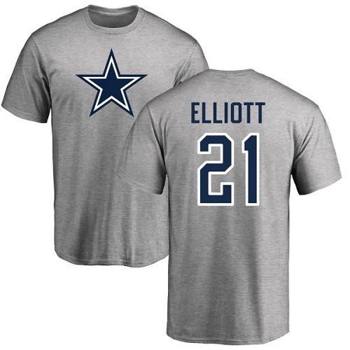 Men Dallas Cowboys Ash Ezekiel Elliott Name and Number Logo 21 Nike NFL T Shirt