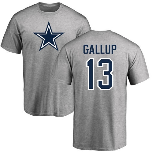 Men Dallas Cowboys Ash Michael Gallup Name and Number Logo 13 Nike NFL T Shirt