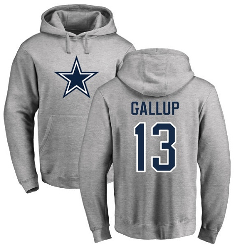 Men Dallas Cowboys Ash Michael Gallup Name and Number Logo 13 Pullover NFL Hoodie Sweatshirts