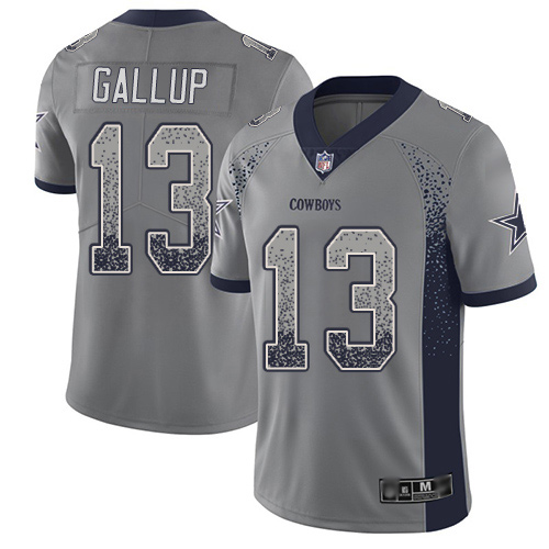Men Dallas Cowboys Limited Gray Michael Gallup 13 Rush Drift Fashion NFL Jersey