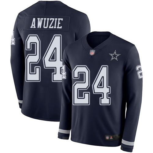 Men Dallas Cowboys Limited Navy Blue Chidobe Awuzie 24 Therma Long Sleeve NFL Jersey