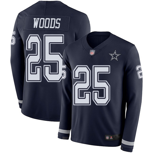 Men Dallas Cowboys Limited Navy Blue Xavier Woods 25 Therma Long Sleeve NFL Jersey