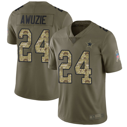 Men Dallas Cowboys Limited Olive Camo Chidobe Awuzie 24 2017 Salute to Service NFL Jersey