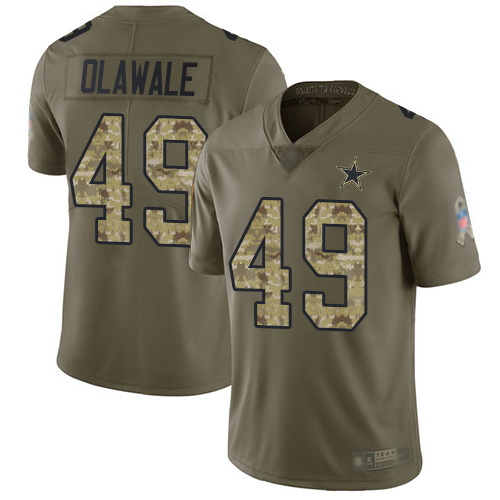Men Dallas Cowboys Limited Olive Camo Jamize Olawale 49 2017 Salute to Service NFL Jersey