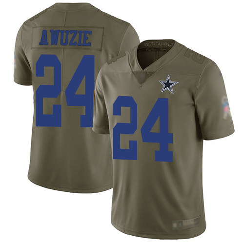 Men Dallas Cowboys Limited Olive Chidobe Awuzie 24 2017 Salute to Service NFL Jersey