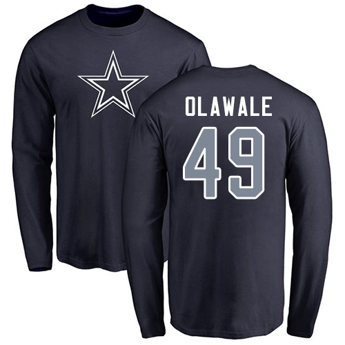 Men Dallas Cowboys Navy Blue Jamize Olawale Name and Number Logo 49 Long Sleeve Nike NFL T Shirt