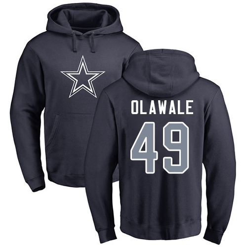 Men Dallas Cowboys Navy Blue Jamize Olawale Name and Number Logo 49 Pullover NFL Hoodie Sweatshirts
