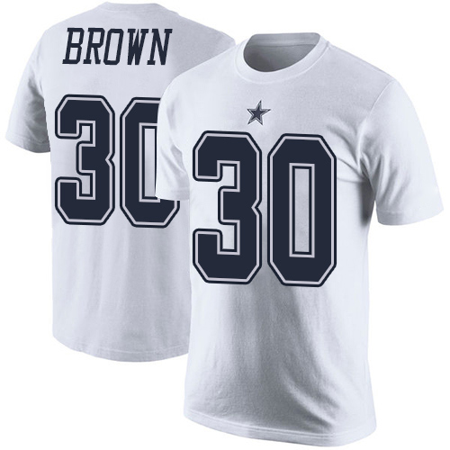 Men Dallas Cowboys White Anthony Brown Rush Pride Name and Number 30 Nike NFL T Shirt