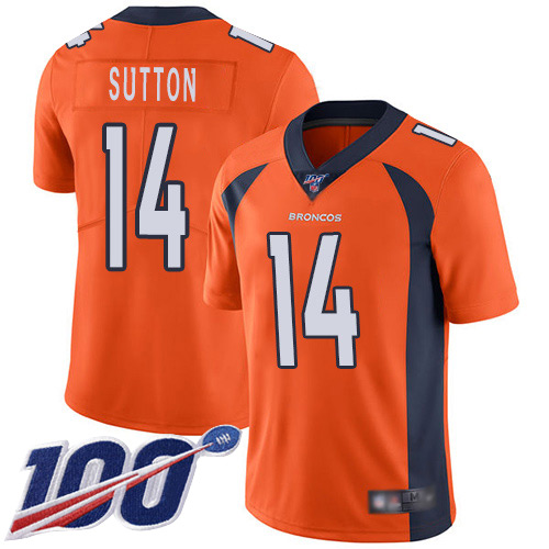 Men Denver Broncos 14 Courtland Sutton Orange Team Color Vapor Untouchable Limited Player 100th Season Football NFL Jersey