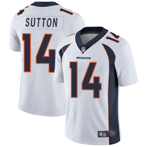 Men Denver Broncos 14 Courtland Sutton White Vapor Untouchable Limited Player Football NFL Jersey
