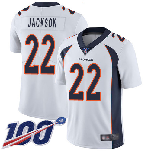 Men Denver Broncos 22 Kareem Jackson White Vapor Untouchable Limited Player 100th Season Football NFL Jersey