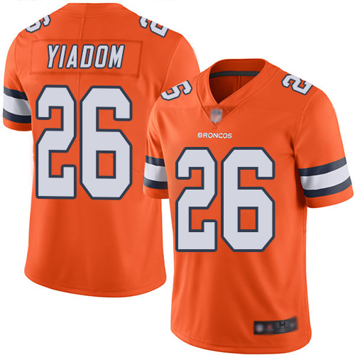 Men Denver Broncos 26 Isaac Yiadom Limited Orange Rush Vapor Untouchable Football NFL Jersey