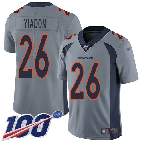 Wholesale Men Denver Broncos 26 Isaac Yiadom Limited Silver Inverted Legend 100th Season Football NFL Jersey