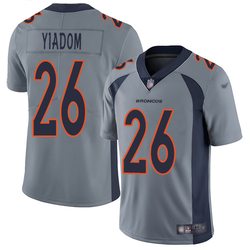 Wholesale Men Denver Broncos 26 Isaac Yiadom Limited Silver Inverted Legend Football NFL Jersey
