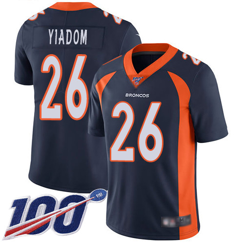 Wholesale Men Denver Broncos 26 Isaac Yiadom Navy Blue Alternate Vapor Untouchable Limited Player 100th Season Football NFL Jersey