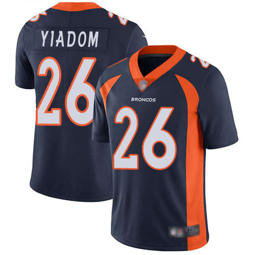 Wholesale Men Denver Broncos 26 Isaac Yiadom Navy Blue Alternate Vapor Untouchable Limited Player Football NFL Jersey