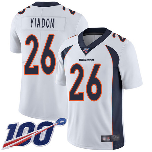 Men Denver Broncos 26 Isaac Yiadom White Vapor Untouchable Limited Player 100th Season Football NFL Jersey