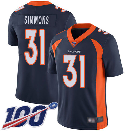 Men Denver Broncos 31 Justin Simmons Navy Blue Alternate Vapor Untouchable Limited Player 100th Season Football NFL Jersey