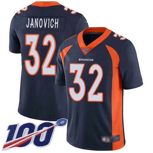 Men Denver Broncos 32 Andy Janovich Navy Blue Alternate Vapor Untouchable Limited Player 100th Season Football NFL Jersey