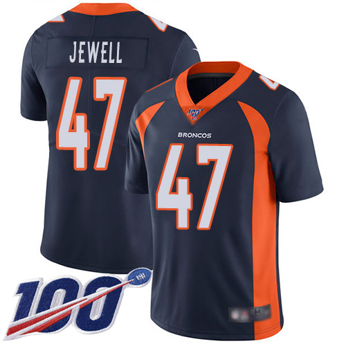 Men Denver Broncos 47 Josey Jewell Navy Blue Alternate Vapor Untouchable Limited Player 100th Season Football NFL Jersey