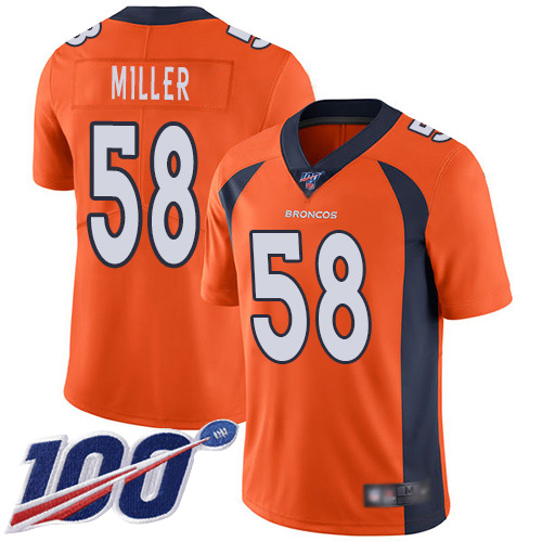 Men Denver Broncos 58 Von Miller Orange Team Color Vapor Untouchable Limited Player 100th Season Football NFL Jersey