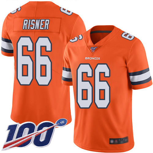 Men Denver Broncos 66 Dalton Risner Limited Orange Rush Vapor Untouchable 100th Season Football NFL Jersey