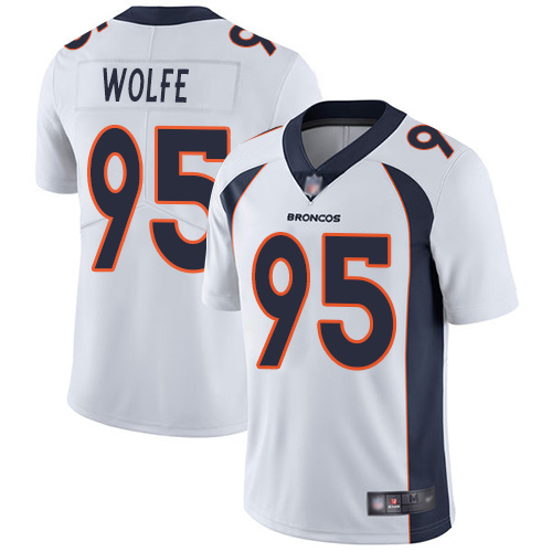 Men Denver Broncos 95 Derek Wolfe White Vapor Untouchable Limited Player Football NFL Jersey