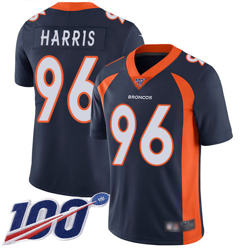 Men Denver Broncos 96 Shelby Harris Navy Blue Alternate Vapor Untouchable Limited Player 100th Season Football NFL Jersey