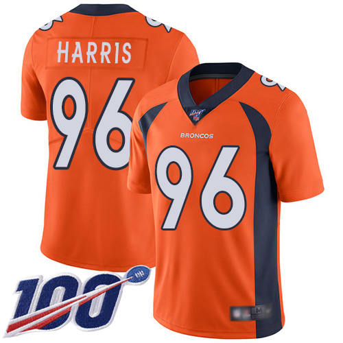 Men Denver Broncos 96 Shelby Harris Orange Team Color Vapor Untouchable Limited Player 100th Season Football NFL Jersey