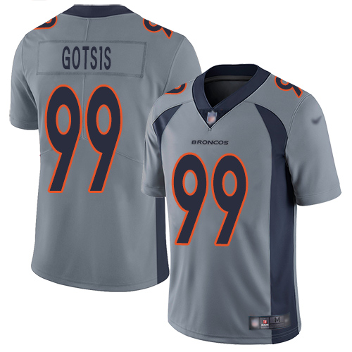 Men Denver Broncos 99 Adam Gotsis Limited Silver Inverted Legend Football NFL Jersey