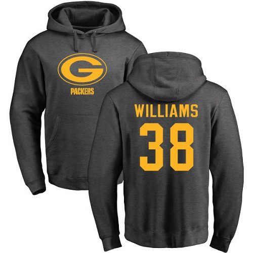 Men Green Bay Packers Ash 38 Williams Tramon One Color Nike NFL Pullover Hoodie Sweatshirts